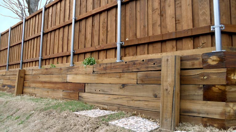 Fence with 6x6 Retaining Wall
