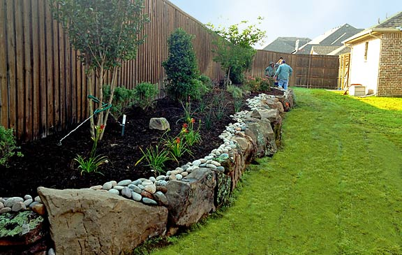 Backyard Landscape with Stone Border