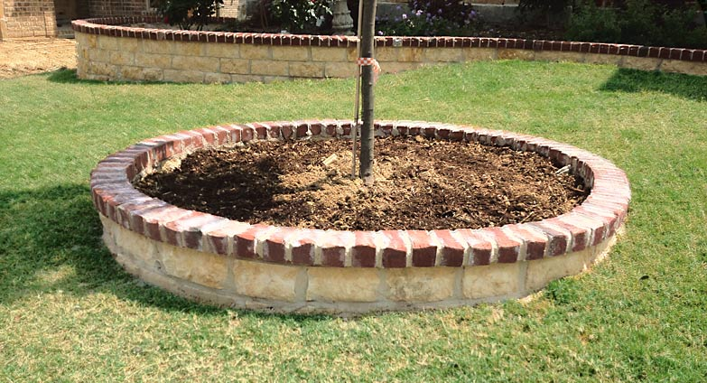 Stone Tree Ring with Brick Lining