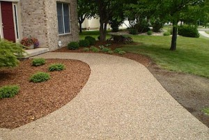 Aggregate Stone Finish on Concrete Walk