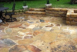Flagstone Patio with Stone Steps & Wall