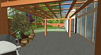 3-D Design of Patio & Backyard