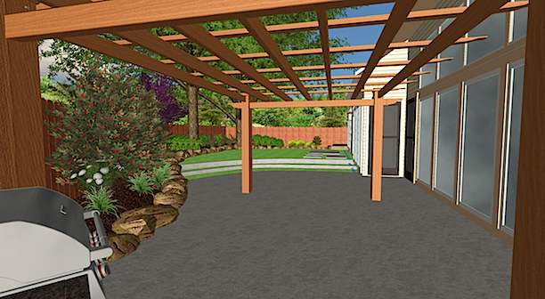 3D Design of Patio Area & Artificial Turf Yard