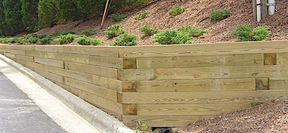 Treated Wood Retaining Wall with Soil Anchors